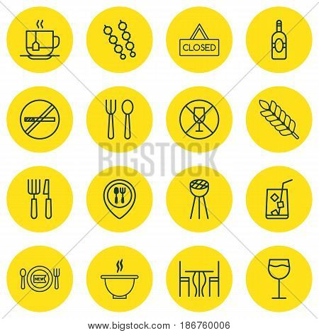 Set Of 16 Food Icons. Includes Dining Room, Wineglass, Stop Smoke And Other Symbols. Beautiful Design Elements.