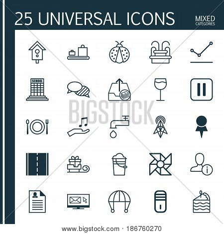Set Of 25 Universal Editable Icons. Can Be Used For Web, Mobile And App Design. Includes Elements Such As Mute Song, Wineglass, Photo Camera And More.