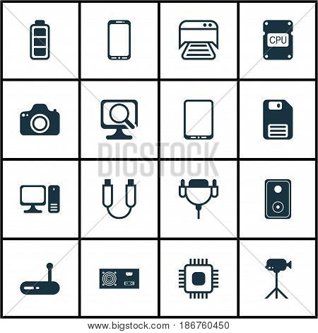 Set Of 16 Computer Hardware Icons. Includes Camcorder, Cpu, Camera And Other Symbols. Beautiful Design Elements.