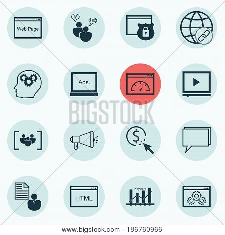 Set Of 16 SEO Icons. Includes Conference, Loading Speed, Website And Other Symbols. Beautiful Design Elements.