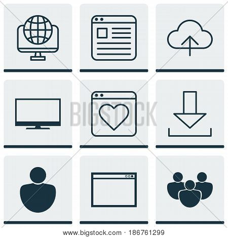 Set Of 9 Online Connection Icons. Includes Team, Human, Website Page And Other Symbols. Beautiful Design Elements.