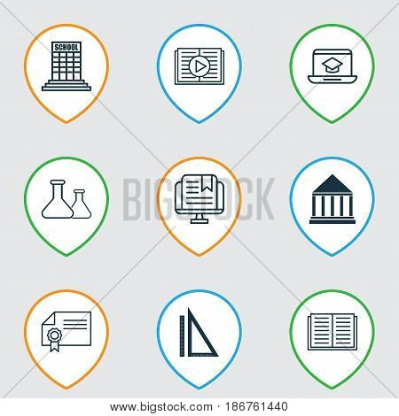 Set Of 9 Education Icons. Includes Taped Book, Diploma, Education Center And Other Symbols. Beautiful Design Elements.