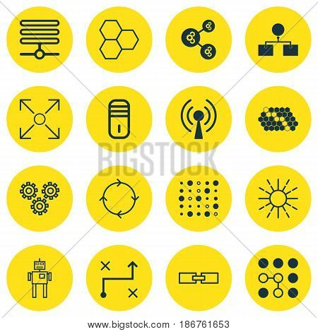Set Of 16 Robotics Icons. Includes Computing Problems, Information Base, Hive Pattern And Other Symbols. Beautiful Design Elements.