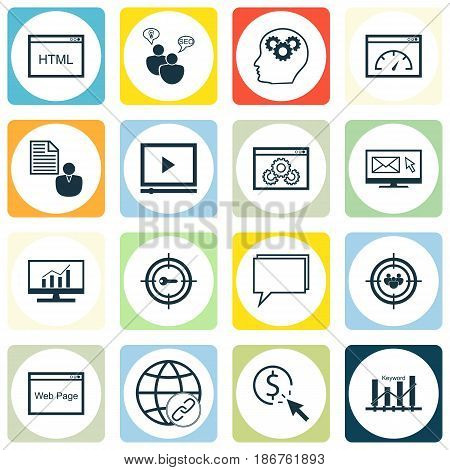 Set Of 16 SEO Icons. Includes Conference, Market Research, Video Player And Other Symbols. Beautiful Design Elements.