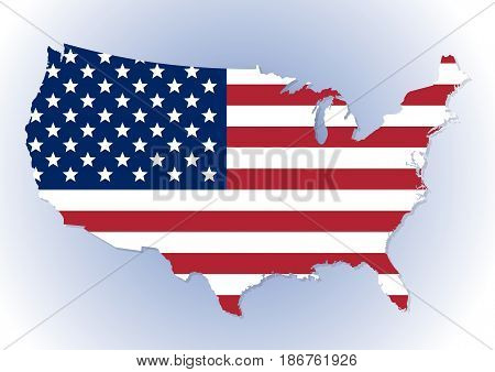 High detailed United States of America map with the national flag inside. Stars and Stripes flag. Vector illustration