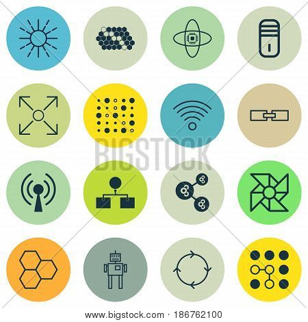 Set Of 16 Artificial Intelligence Icons. Includes Lightness Mode, Branching Program, Recurring Program And Other Symbols. Beautiful Design Elements.