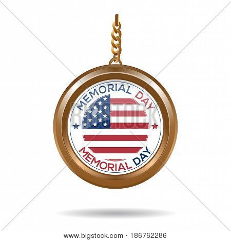 Round medallion on a chain with an American flag and inscription - Memorial day. Memorial day design. Vector illustration