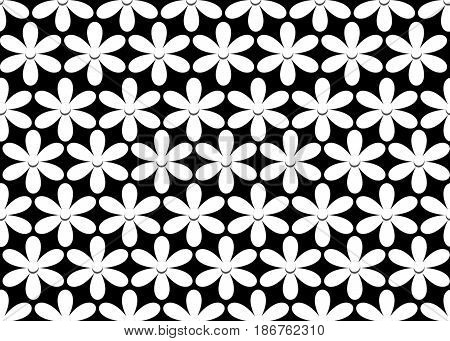 Seamless black and white background with floral motif