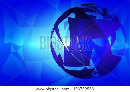 Blue abstract random sizes triangle geometric background with stylized planet