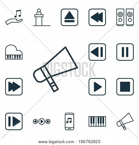 Set Of 16 Multimedia Icons. Includes Last Song, Extract Device, Following Song And Other Symbols. Beautiful Design Elements.