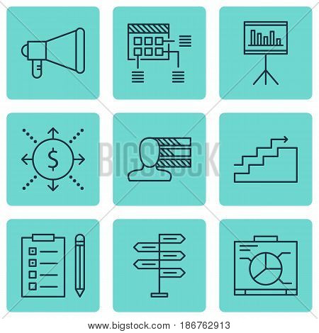 Set Of 9 Project Management Icons. Includes Presentation, Schedule, Growth And Other Symbols. Beautiful Design Elements.