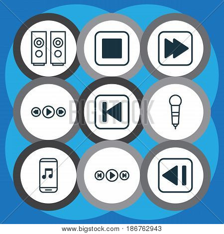 Set Of 9 Audio Icons. Includes Run Song Back, Following Song, Sound Box And Other Symbols. Beautiful Design Elements.