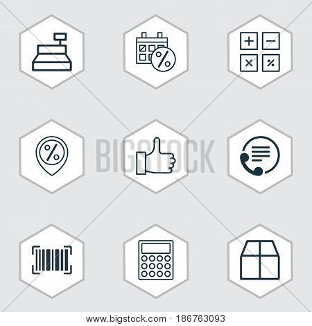 Set Of 9 Ecommerce Icons. Includes Cardboard, Identification Code, Recommended And Other Symbols. Beautiful Design Elements.