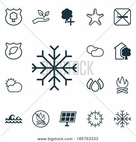 Set Of 16 Ecology Icons. Includes Cloud Cumulus, Guard Tree, Sea Star And Other Symbols. Beautiful Design Elements.