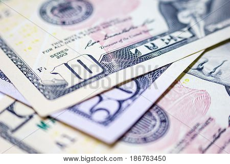Close-up Dollars American Dollars Cash Money Dollar Banknotes Business and Finance Concepts.