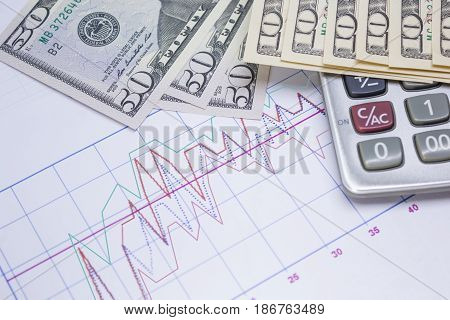 calculator graph paper with banknotes 10 dollar 50 dollar for home business and financial concept.