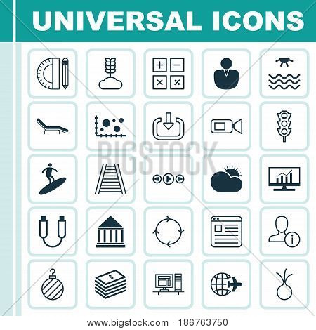 Set Of 25 Universal Editable Icons. Can Be Used For Web, Mobile And App Design. Includes Elements Such As Education Tools, Recurring Program, Worldwide Flight And More.