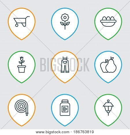 Set Of 9 Garden Icons. Includes Garden Clothes, Ovum, Floret And Other Symbols. Beautiful Design Elements.