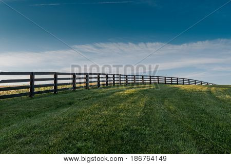 Three Quarter View of Fence Over Rolling Hill of Green Grass