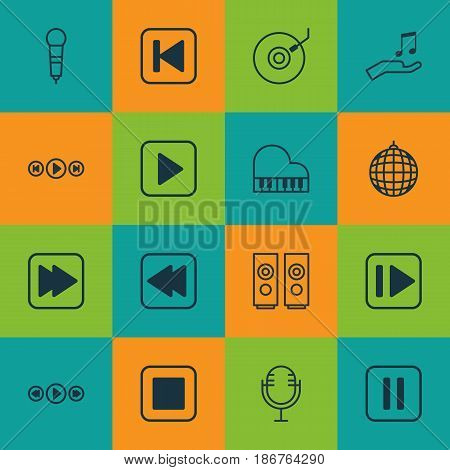 Set Of 16 Music Icons. Includes Following Song, Music Control, Run Song Back And Other Symbols. Beautiful Design Elements.