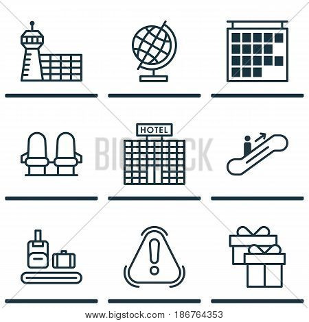 Set Of 9 Travel Icons. Includes World Sphere, Moving Staircase, Briefcase Scanner And Other Symbols. Beautiful Design Elements.