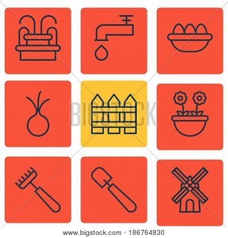 Set Of 9 Holticulture Icons. Includes Water Monument, Herb, Spigot And Other Symbols. Beautiful Design Elements.
