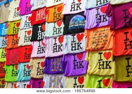 Hong Kong T-shirts At A Market Stall At Temple Street, Hong Kong