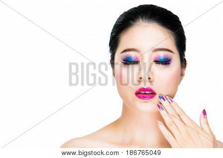 Closed Eyes Gentle Female Lady Painted Rainbow
