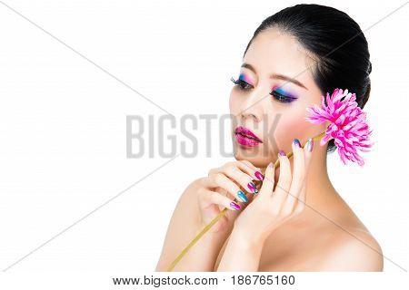 Portrait Of Melancholy Asian Nail Beauty