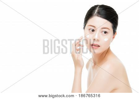 Woman With Anti-aging Cream On Her Face