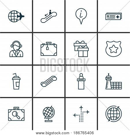 Set Of 16 Travel Icons. Includes Registration Service, Suitcase, Baggage Research And Other Symbols. Beautiful Design Elements.