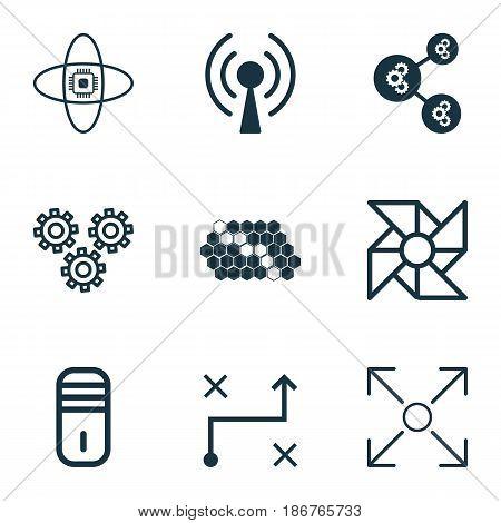 Set Of 9 Robotics Icons. Includes Algorithm Illustration, Branching Program, Atomic Cpu And Other Symbols. Beautiful Design Elements.