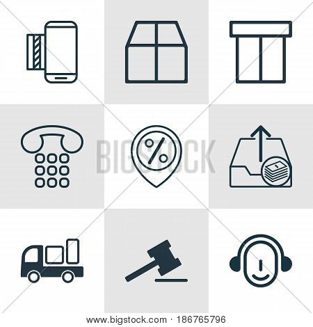 Set Of 9 Commerce Icons. Includes Discount Location, Cardboard, Mobile Service And Other Symbols. Beautiful Design Elements.