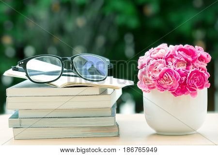 the fresh pink carnation flower with books