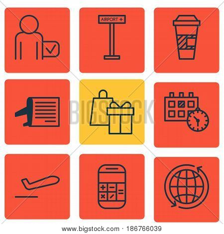 Set Of 9 Travel Icons. Includes Timetable, Airplane Information, World And Other Symbols. Beautiful Design Elements.