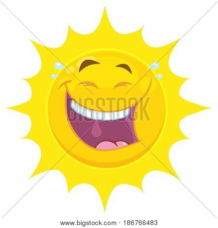 Laughing Yellow Sun Cartoon Emoji Face Character With Smiling Expression. Illustration Isolated On White Background