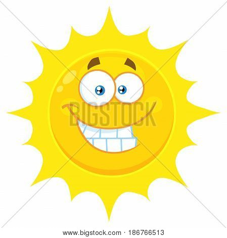 Funny Yellow Sun Cartoon Emoji Face Character With Smiling Expression. Illustration Isolated On White Background