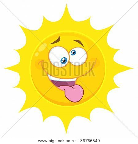 Crazy Yellow Sun Cartoon Emoji Face Character With Mad Expression And Protruding Tongue. Illustration Isolated On White Background