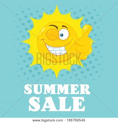 Smiling Yellow Sun Cartoon Emoji Face Character With Wink Expression Giving A Thumb Up. Illustration With Blue Halftone Background And Text Summer Sale