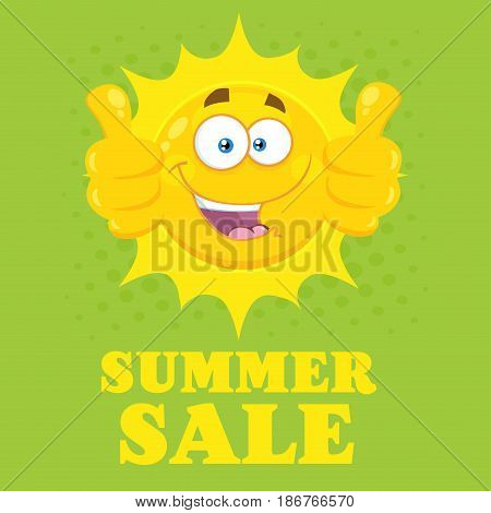 Happy Yellow Sun Cartoon Emoji Face Character Giving Two Thumbs Up. Illustration With Green Halftone Background And Text Summer Sale