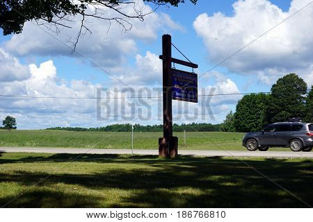 FIFE LAKE, MICHIGAN / UNITED STATES - AUGUST 6, 2016: The Michigan Department of Transportation Roadside Park, honoring J. Charles Brown, offers motorists on U.S. Highway 131 a place to rest.