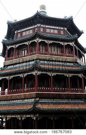 summer palace tower pagoda Beijing  traditional ancient