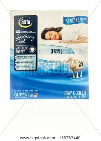 Winneconne WI - 27 March 2017: A Serta soothing cool matress topper in a box on an isolated background.