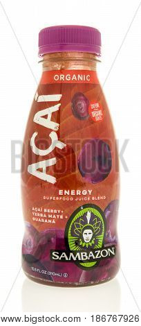 Winneconne WI - 7 May 2017: A bottle of Acai energy juice blend on an isolated background.