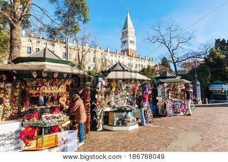 Souvenir Stalls In Venice, Italy