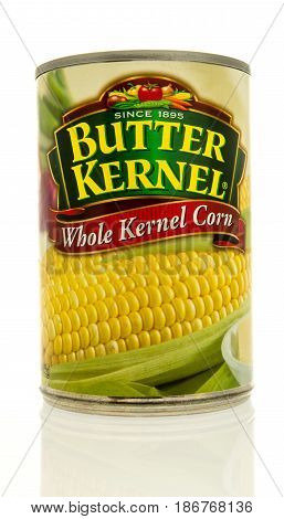 Winneconne WI - 15 May 2017: A can of Butter Kernel whole kernel corn on an isolated background.