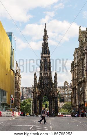 Scott Monument In Edinburgh, Scotland, Uk