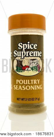 Winneconne WI - 15 May 2017: A bottle of Spice Supreme poultry seasoning on an isolated background.