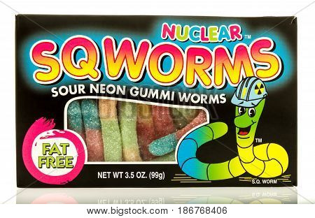 Winneconne WI - 15 May 2017: A box of Nuclear Sqworms sour neon gummi worms on an isolated background.