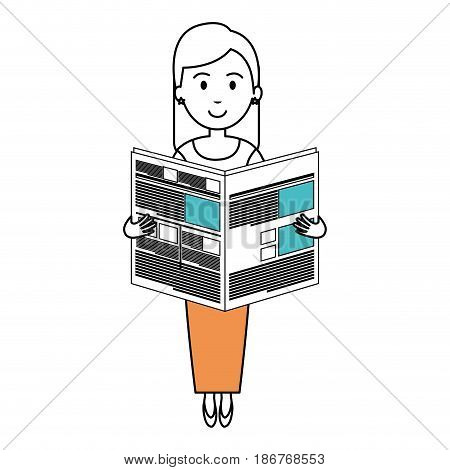 young woman reading newspaper avatar character vector illustration design